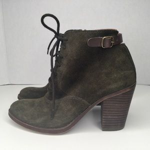 Lucky brand green suede booties.